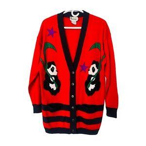 Vntg 90s Panda Patchwork Oversized Cardigan Red M